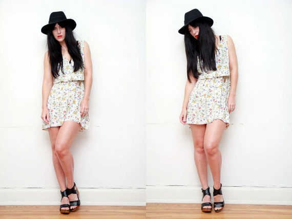 SALE Floral Grunge Boho Tent  Mini Dress 90s