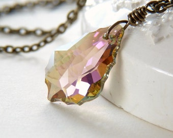 Purple Rainbow Crystal Necklace - Swarovski Baroque Crystal Pendant Necklace - Shimmer Sparkle Glitter Jewelry - Rainbow Crystal Necklace