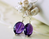 Purple Earrings Amethyst Gemstones AAA Keishi Keshi Freshwater Pearl Cluster Wire Wrapped Sterling Silver Jewelry Complimentary Shipping