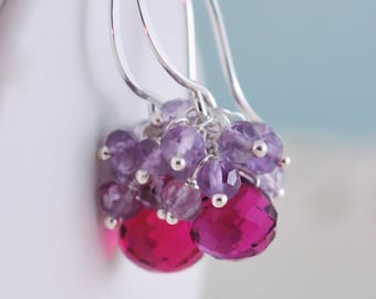 Hot Pink Earrings, Fuchsia Quartz, Lilac Pink Amethyst, Gemstone, Wire Wrapped, Cluster, Sterling Silver Jewelry, Free Shipping