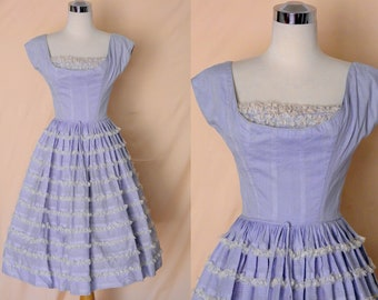 1950's Vintage Blue Lou Ette Day Dress with Lace Ruffle