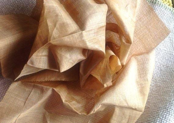 """Pure Muga Silk. Muga Silk fabric from Assam. Organic silk by the yard. Wild silk. Hand reeled. Hand woven. Natural Gold. 36"""" / 90cm wide."""