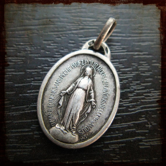 Vintage French Sterling Silver Miraculous Virgin Mary Religious Medal - Antique Jewelry from France
