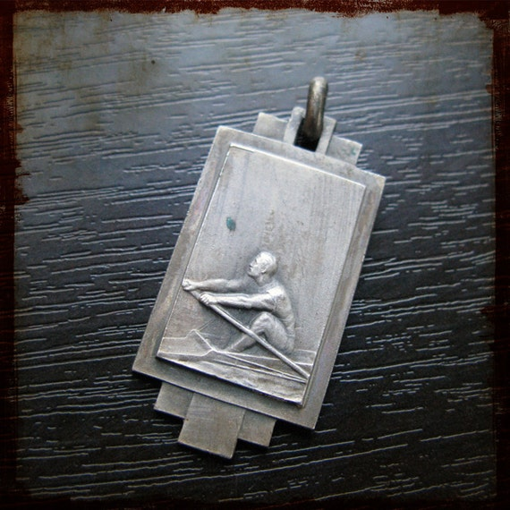 Vintage Antique French Silver Sports Medal Rowing Match Championship - Award Competition pendant decoration ornament