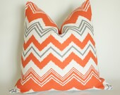 Orange Gray Chevron Pillow Cover