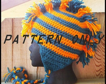 Mohawk Hat CROCHET PATTERN PDF, Crochet Hat Pattern, Mohawk Ear Flap Hat Crochet Pattern Digital Download, Team Spirit Mohawk Earflap Hat