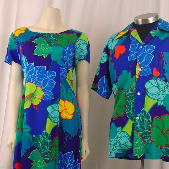 Vintage 1960s Hawaiian Wedding Set Matching Shirt And Dress