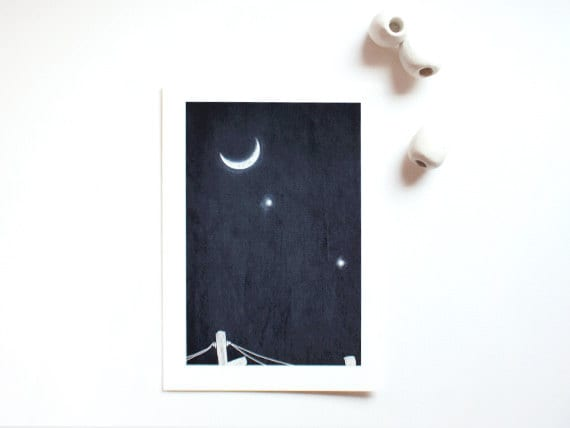 Celestial Spring Sky, 5x7 illustrated art print, Venus Jupiter conjunction moon in the night sky, space, astral, stars, planets, blue, navy
