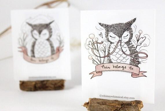 12 Bookplates - Owl