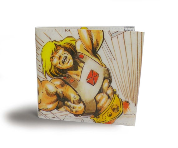 He-Man Wallet - Masters of the Universe - Recycled book page in vinyl