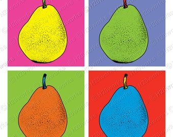 Pears Pop Art , 9x9 Large Image & Transfer, Warhol - Style, Bright Neon Colors, Canvas Totes, Prints, T-Shirts, Printable, INSTANT DOWNLOAD