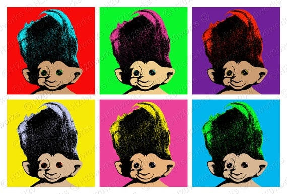 Retro Troll Dolls Pop Art , 10.5x7 Large Image & Transfer, Warhol - Style, 70's, Bright Neon Colors, Vintage, Printable, INSTANT DOWNLOAD