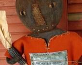 Primitive Folk Art Grungy Halloween Autumn Pumpkin Gourd Doll