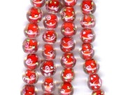 Red Round Lampwork beads