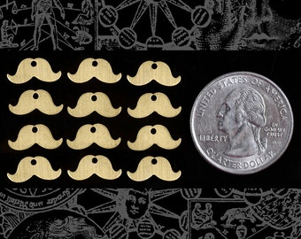 Mustache Charms in Raw Brass * Set of Twelve  B-C95