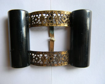 1930s Black Bakelite Nu Style Buckle attached to original card