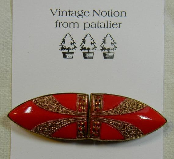 Reserved for Okiegirlstuff 1930 Art Deco Red Czechoslovakian Belt Buckle