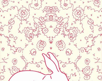Rabbit Collaboration - 11x14 Abstract, Modern, Affordable, Unique, Rabbits, Red, White, Organic Lines, Art Print