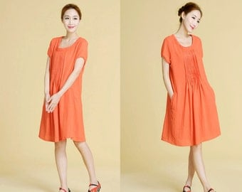 Pintuck linen-silk blend dress 28 Colors/ Light weight Pleated dress in Sunny Summer Day/ RAMIES