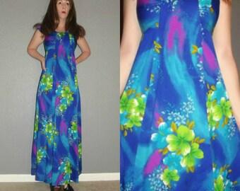 S S Vtg 70s Hukillau Blue Aqua Lime Neon Floral Op Art Hawaiian Hostess Boho Hippie Maxi Dress