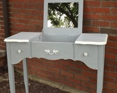 RESERVED FOR JESS  French Country, Shabby Cottage chic, French Provencal Hand Painted Vanity with Mirror