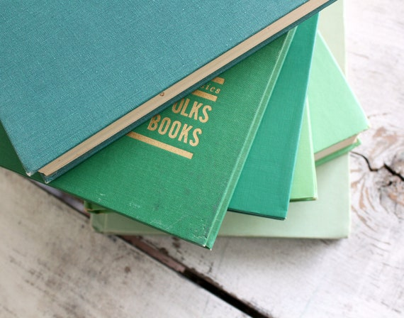 Collection of six vintage books, shades of green