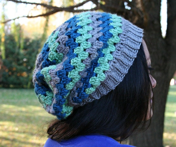 Striped Crochet Slouch Hat - Grey, Mint and Blue - Granny Stripe Slouchy Tam