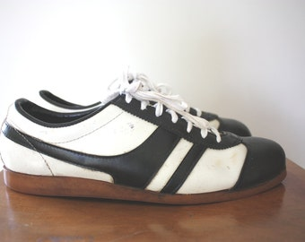 Vintage 1970s Leather Sneakers Trainers Shoes Size UK Mens 8