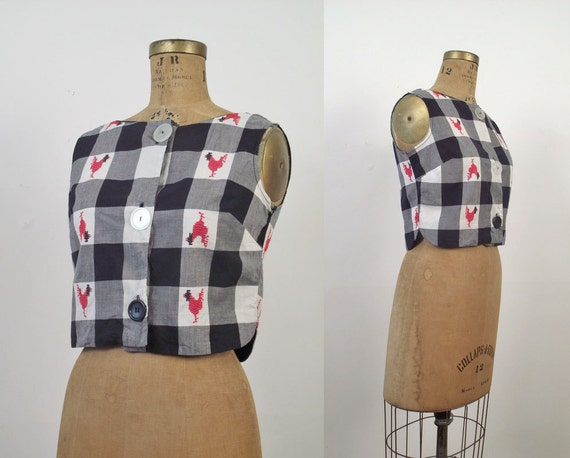 1960s Gingham Crop Top / 60s Novelty Print Blouse / Rooster