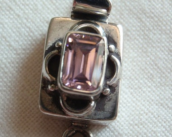 Sterling Silver Box Clasp Rectangular Synthetic Pink Spinel Single Strand