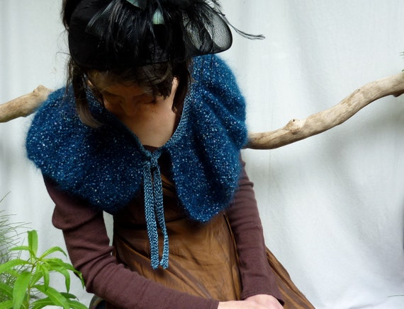 Midnight Capelet, hand knitted in midnight blue mohair yarn with satin trim, Ready to Ship