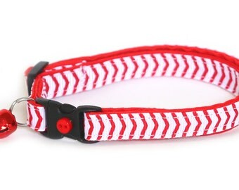 Chevron Cat Collar - Baseball Stitch Red Chevrons - Small Cat / Kitten Size or Large Size Collar