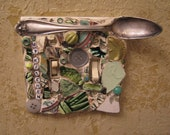 MY KITCHEN Double Switch Plate in Greens with Silver Toned Antique Spoon Mosaic Art