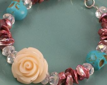 Sugar skull and Pearl Bracelet