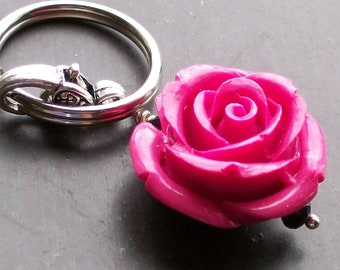 Hot Pink Day of the Dead Rose Pendant Keychain