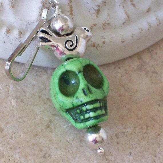 Frida Kahlo Zombie Green Sugar Skull Zipper Pull Charm