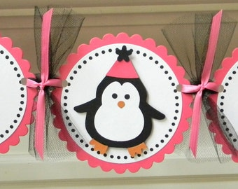 """Pink and Black Penguin """"Happy Birthday"""" Party Banner"""