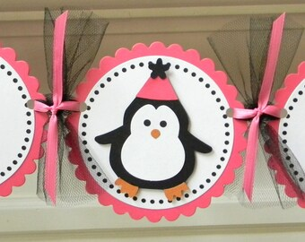 Penguin Happy Birthday Party Banner ~ Fuchsia & Black
