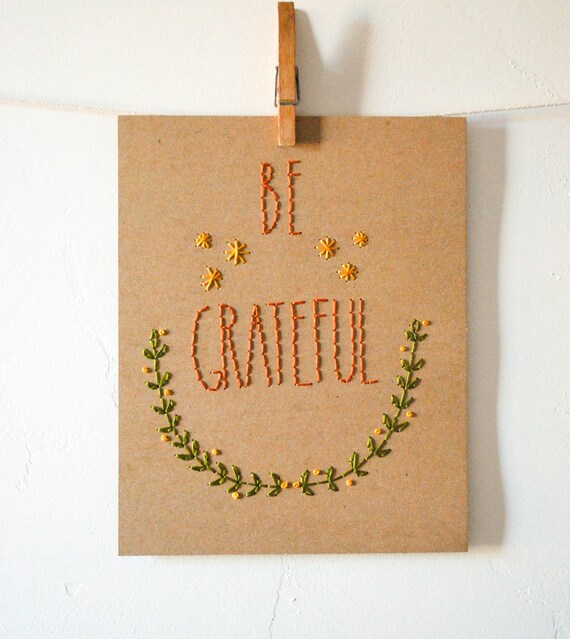 Be Grateful Stitched Artwork