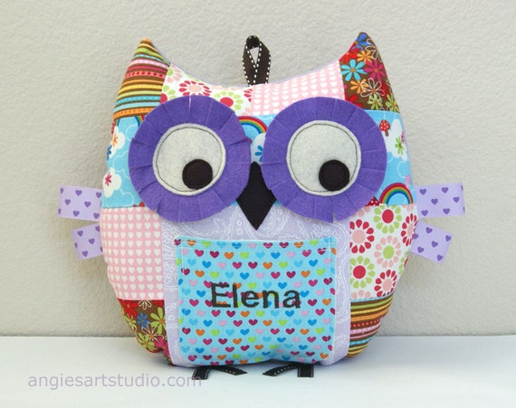 Personalized Medium Patchwork Owl Pillow Plush Stuffed Toy with Front Pocket Great Gift for Baby Girl or Toddler  - Lavender Love
