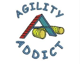 Dog Agility Tee Shirt - Agility Addict with Tunnel and A-frame