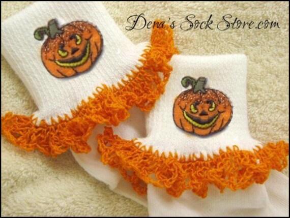Boutique Crocheted Lace Ruffle Pageant Socks Custom Halloween Jack O'Lantern Pumpkins Costume