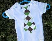 Baby Boy Argyle Tie Applique Onsie: Size 0-3 months