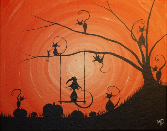 Cats love Halloween-  8 x 10, acrylic on canvas, ready to hang, ORIGINAL by Michael H. Prosper