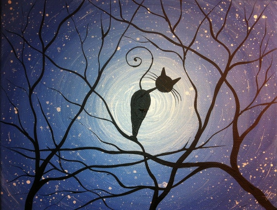 Whimsical Cat Painting Counting Stars 8 X 10 Acrylic On