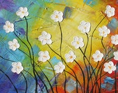 ORIGINAL Oil Painting Young and Restless 45 x 23 Palette Knife Colorful Textured Abstract Flowers Daisies White Blue Red by Marchella