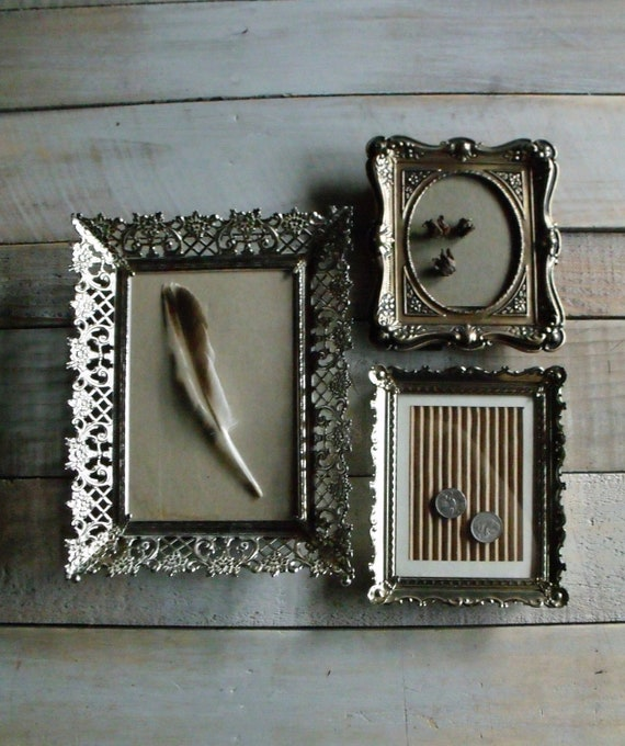 RESERVED - 3 Vintage Filigree Edged Metal Frames
