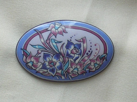 RESERVED for Olusola Vintage Michaela Frey Enamel Flower Brooch