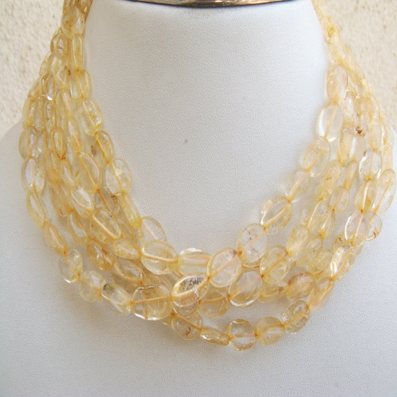 Wholesale Yellow Citrine Lot - Yellow Citrine Oval Shaped Nuggets - 10mm Approx - 5 Strands - 14 Inches Each