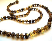Baroque Green Greenish   Baltic  Amber  Necklace . 17.7 inches.